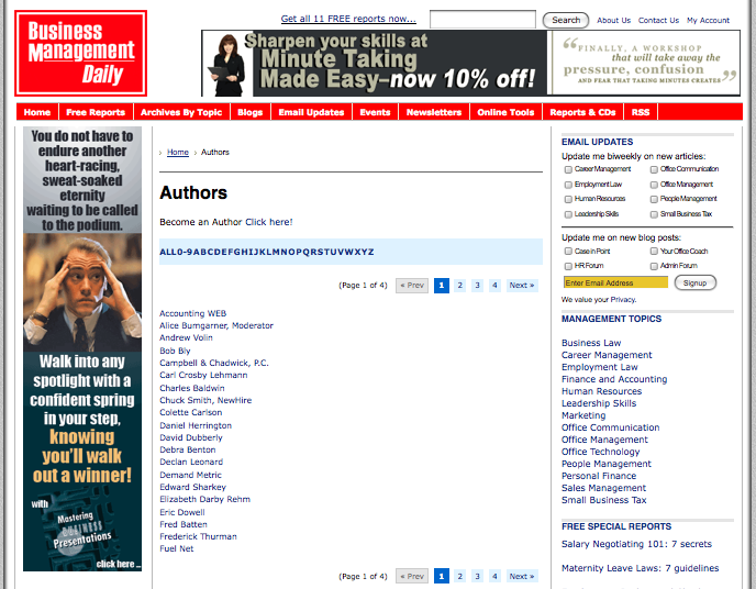 BusinessManagementDaily.com Author Index Landing Page