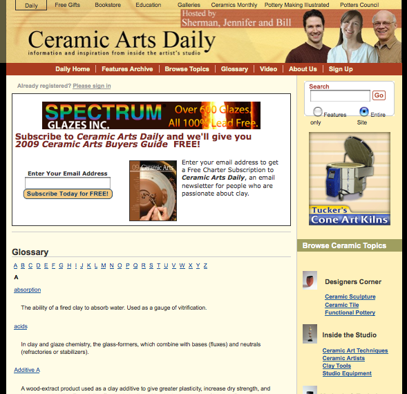 CeramicArtsDaily.com Glossary Landing Page