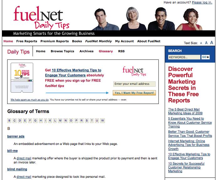 FuelNet.com Glossary Landing Page