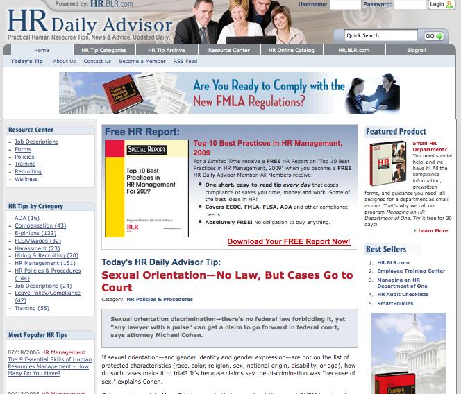 HRDailyAdvisor.com Home Landing Page