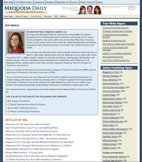 Mequoda.com Author Landing Page