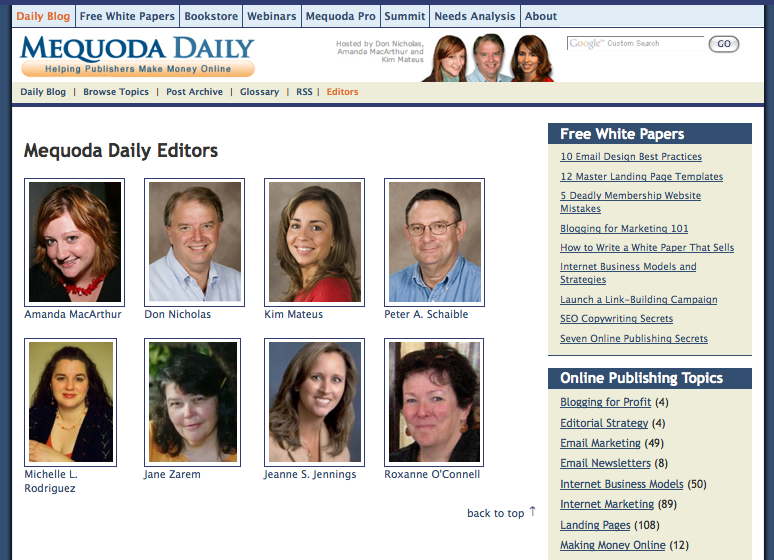 Mequoda.com Author Index Landing Page