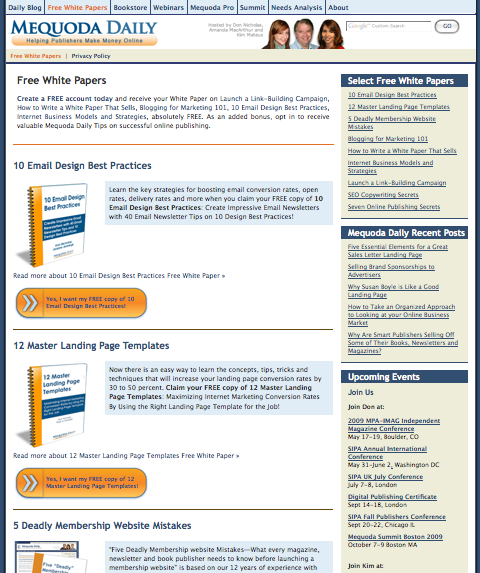 Mequoda.com Marketplace Landing Page