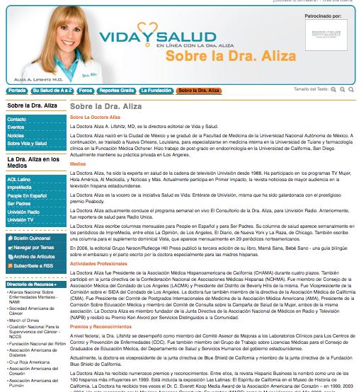Vida y Salud Author Landing Page