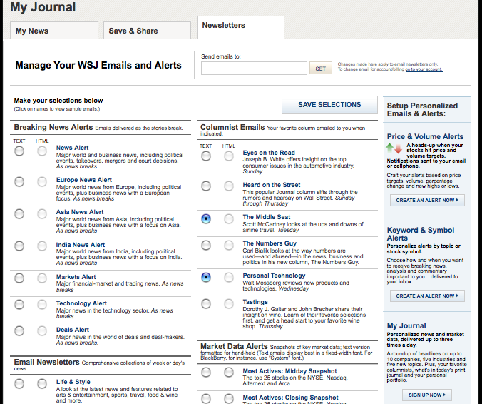 WSJ Email Newsletter Center