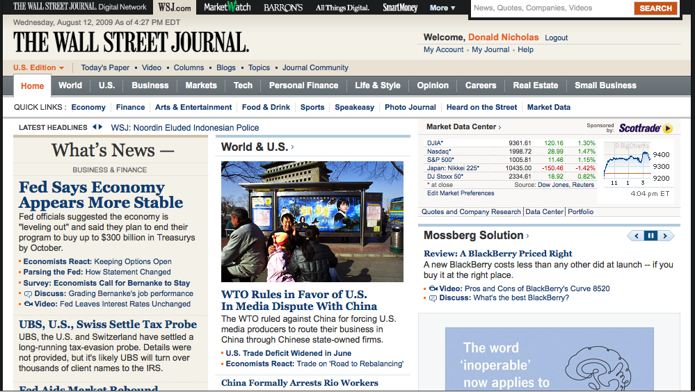 WSJ Member Home Page