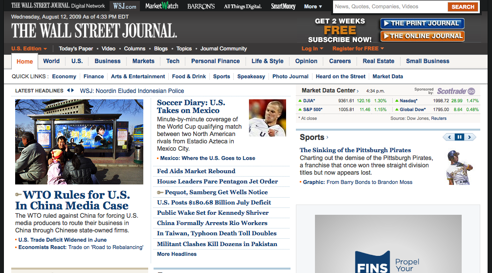 WSJ Unkown User Home Page