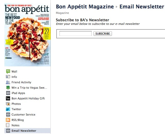 Email Sign-up - Bon Appétit Magazine