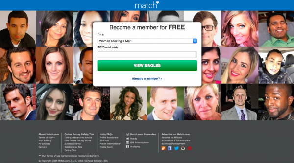 Match.com home page - membership website business model