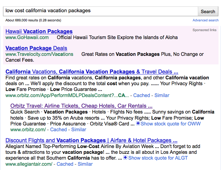 "Google search for ""low cost California vacation packages"""