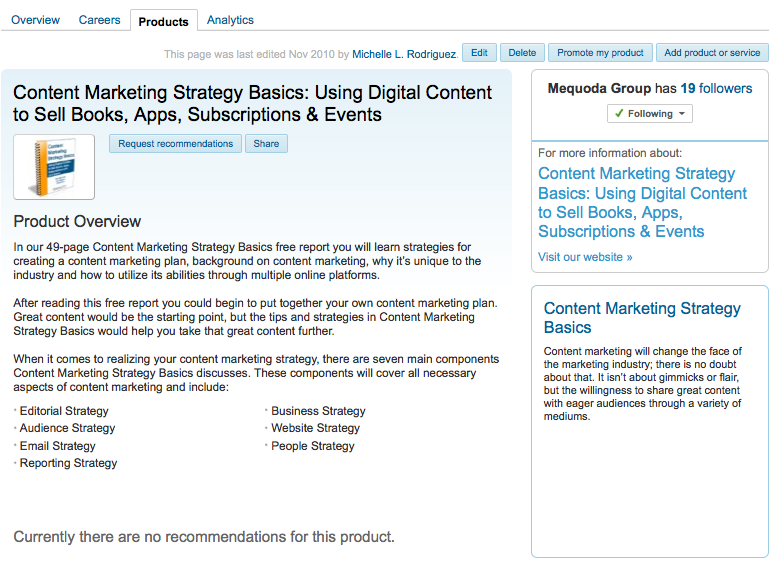 Linkedin Product Page for Content Marketing Strategy Basics