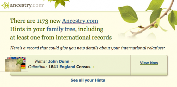 Contextual Email Alert from Ancestry.com