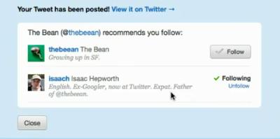 New Tweet Button Follow Tool