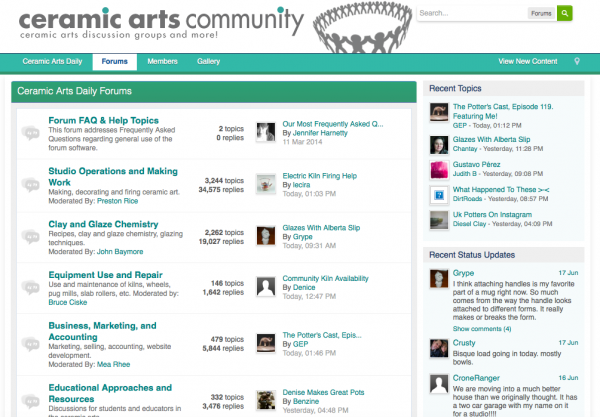 Ceramic Arts Community website business model example