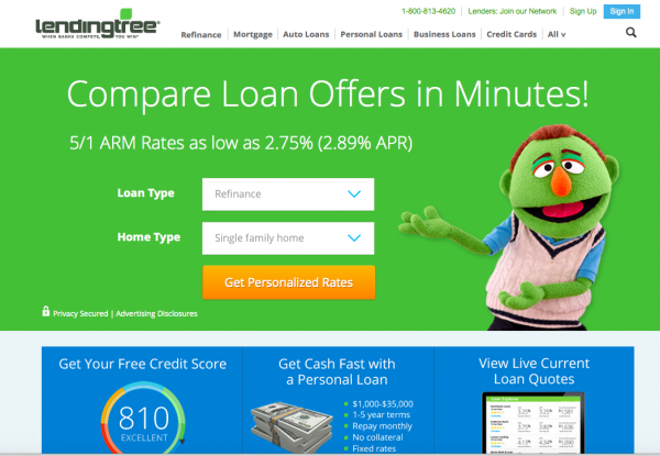 Lending Tree lead generation website business model home page