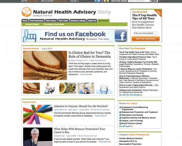 natural health advisory homepage design