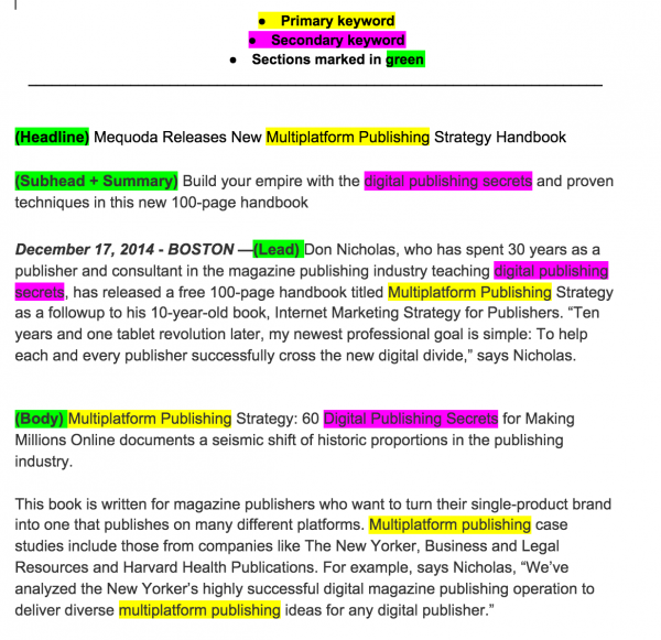 How to write press release for seo