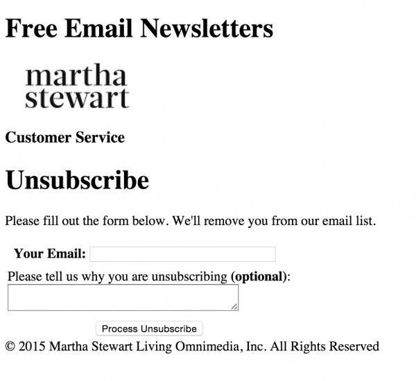 martha stewart unsubscribe