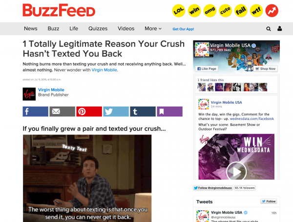 BuzzFeed advertorial