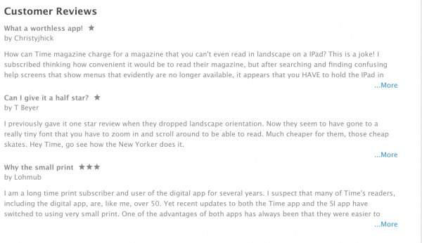 Does TIME read their app reviews?