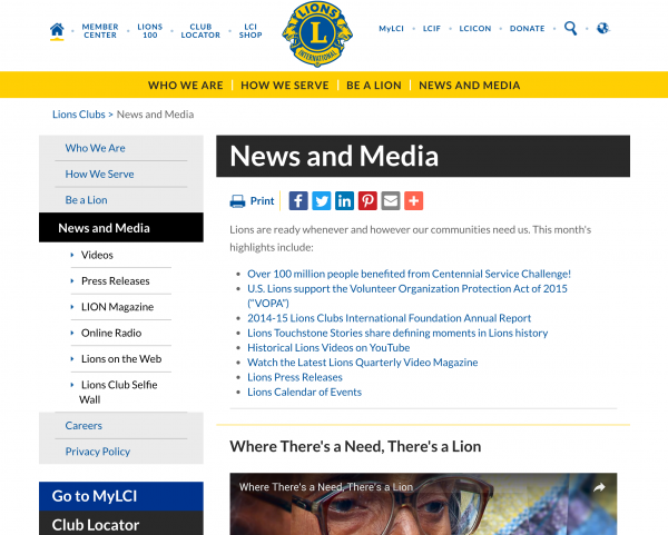 association website lions club