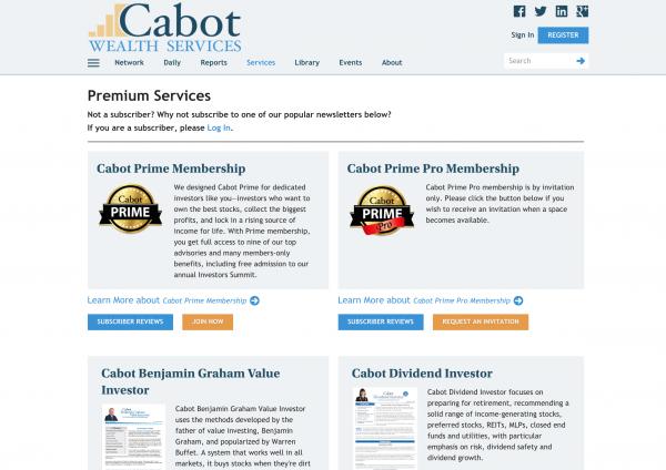 Cabot Subscription Website System
