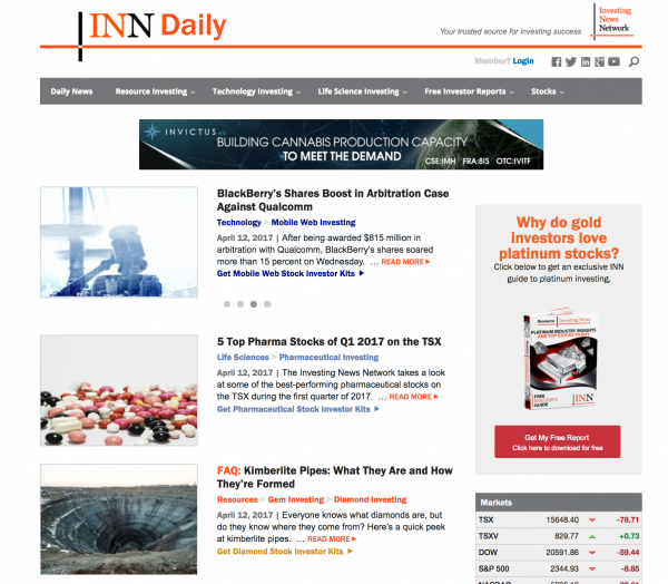 Investing News Network Subscription Website System
