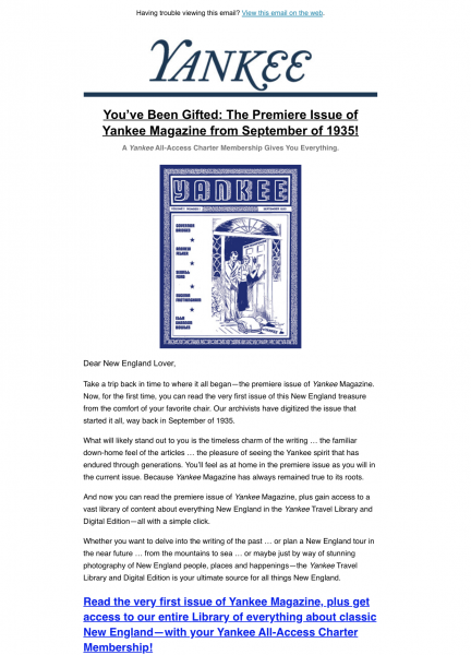 Yankee Magazine Membership Email Marketing