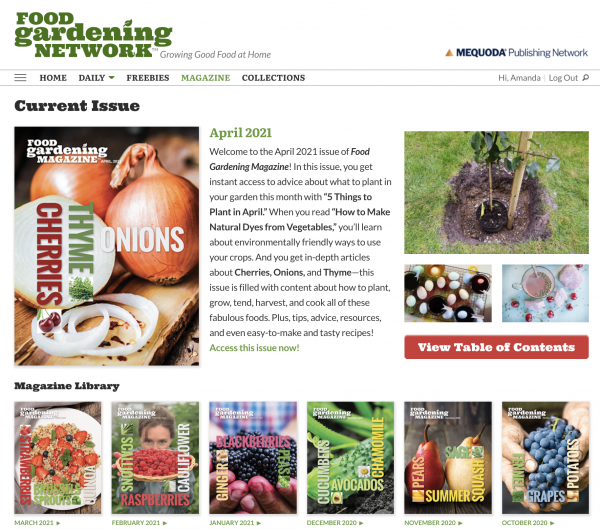 Digital Magazine Publishing Food Gardening Network Example 3