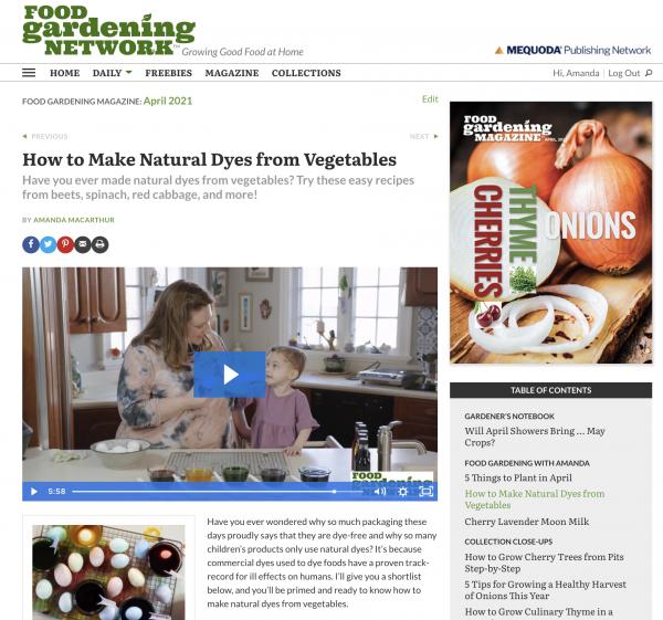 Digital Magazine Publishing Food Gardening Network Example