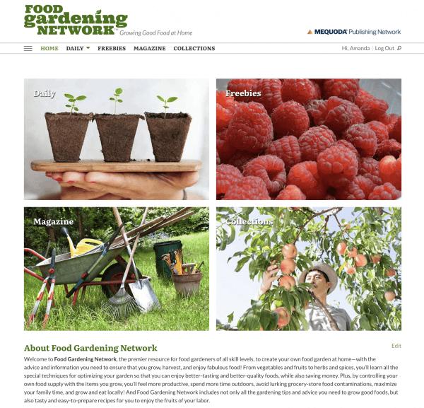 Website Homepage Design of FoodGardeningNetwork.com