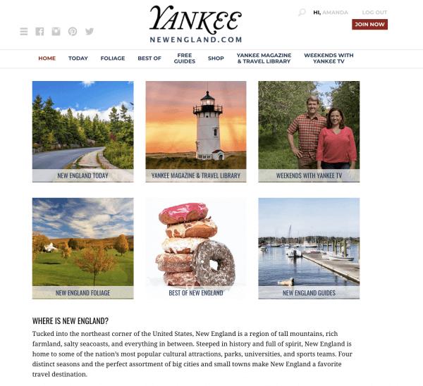 Yankee.com Website Homepage Design