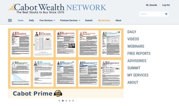 CabotWealth.com Website Homepage Design