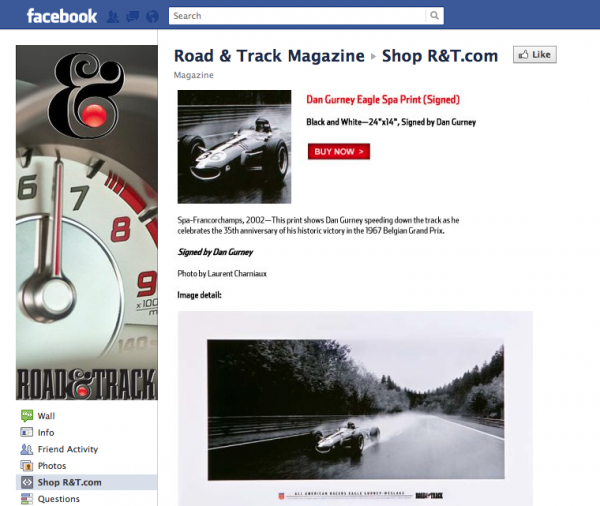 Shopping Carts on Facebook - Road and Track