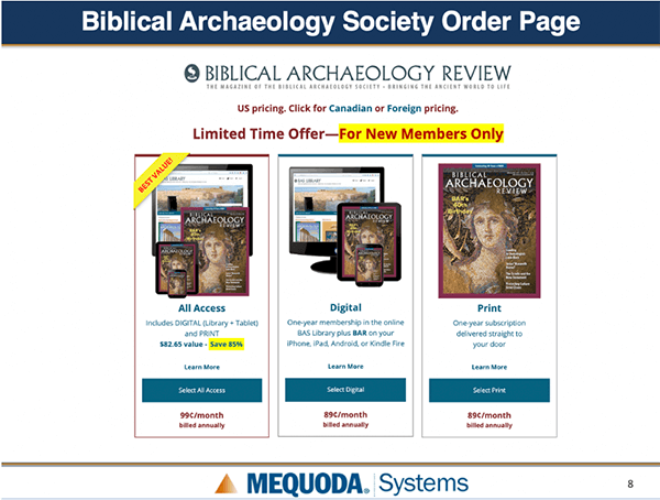 Biblical Archaeology Society HC3 Order Page