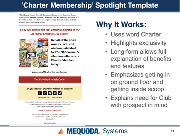 Charter Membership spotlight template