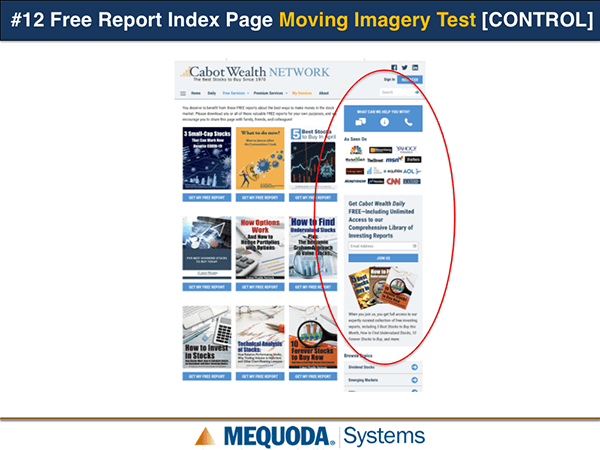 Free Report Index Page Moving Imagery Test Control