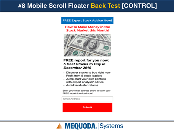 Mobile Scroll Floater Back Test Control