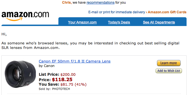Three examples of offering the right email message for Camera email