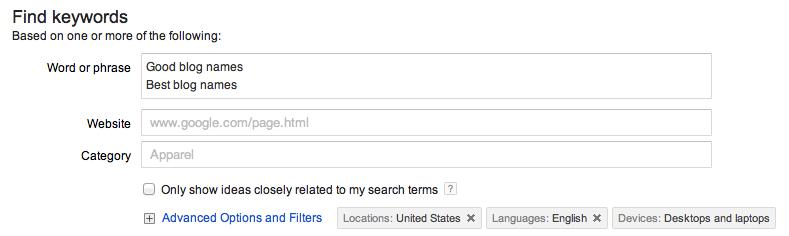 Creating Good Blog Names is as Simple as Picking the Best Keyword