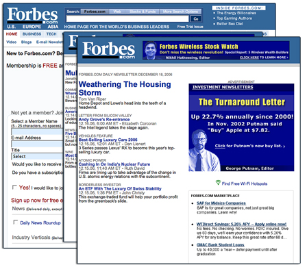 Forbes Website and Newsletters