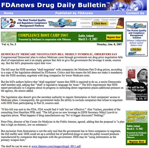 FDAnews Drug Daily Bulletin
