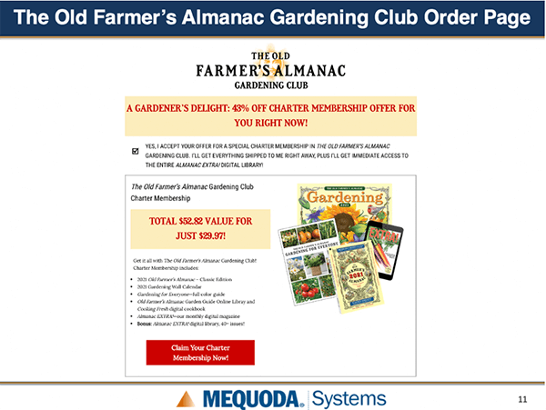Old Farmer's Almanac Order Page