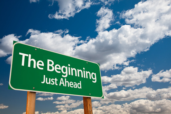 the beginning just ahead green road sign with copy room over the