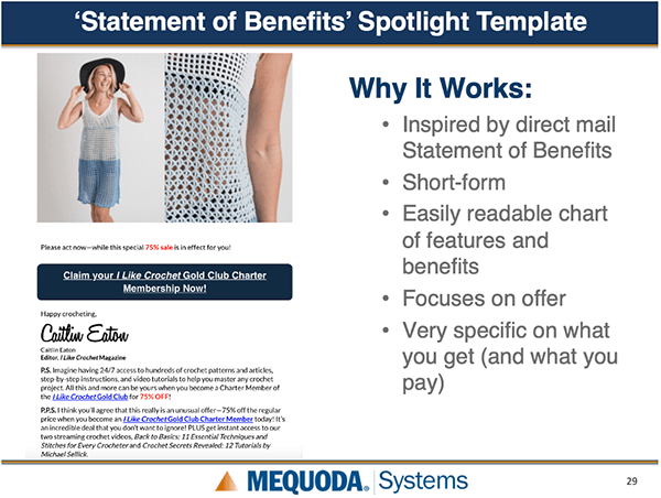 Statement of Benefits spotlight